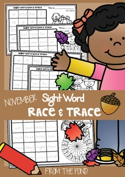 November Sight Word Worksheets - Race and Trace