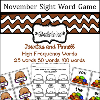 November Sight Word game - Fountas and Pinnell High Frequency Word