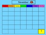 November Smart Board Calendar Math for Kindergarten