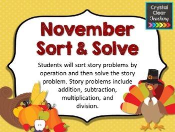 November Sort and Solve Story Problems