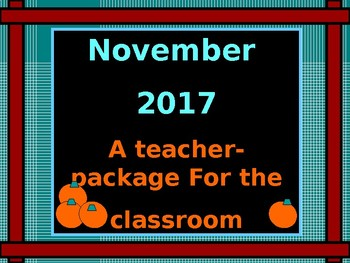 Calendar: 2016 November Sparkles:  A teacher package for t