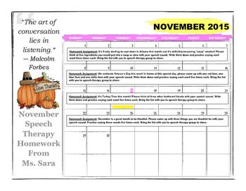 November Speech Articulation Calendar
