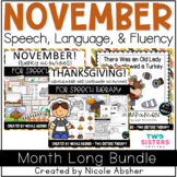 November Speech Language and Fluency Bundle for Speech Therapy