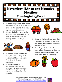 November Speech Theme - Following Directions Worksheets