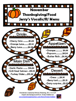 November Speech Theme - R and S articulation menus