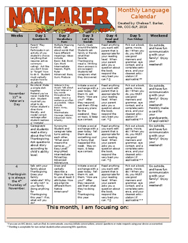 November Speech and Language Calendar - Editable!