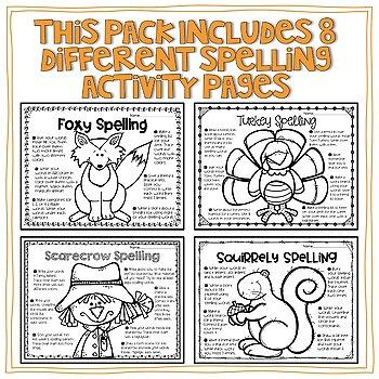 November Spelling Choice Activities