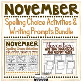 November Spelling Choices and Writing Organizers and Promp