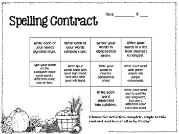 November Spelling Contracts-5 Weeks