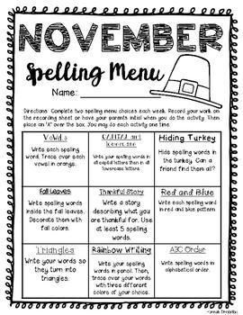 November Spelling Menu