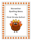 November Spelling Menu - 9 ways for students to learn their spelling words