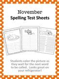 November Spelling Test Sheets