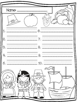 November Spelling Test Templates