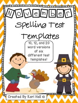 November Spelling Test Templates