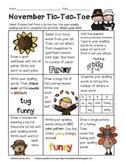 November Spelling Tic-Tac-Toe