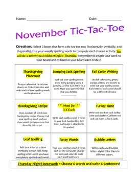 November Spelling Tic-Tac-Toe Assignment Packet