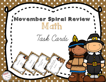 November Spiral Review Math Task Cards
