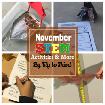 November Stem challenges, graphing, writing craft, and crack the code