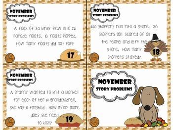 November Story Problems