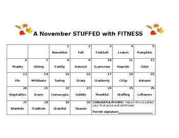 November Stuffed with Fitness Challenge