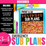 November Sub Plans for 3rd-4th Grade: Ready-to-go lesson plans & activities