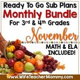 November Sub Plans 3rd 4th Grade Math & ELA Mini Bundle. T