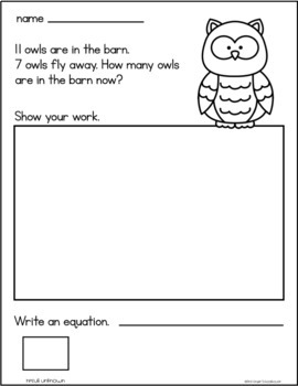 November Subtraction Word Problems First Grade