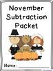 November Subtraction Worksheet Packet- Just Print and Go!
