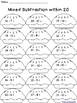 November Subtraction Worksheet Packet {Just Print & Go!}