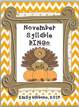 November Syllable BINGO