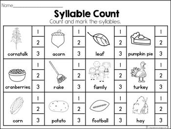 November Syllable Set
