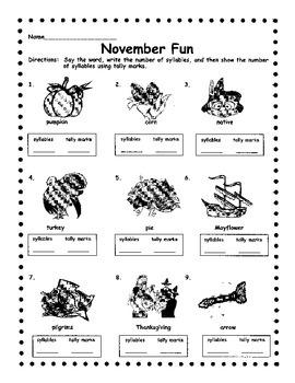 November Syllables & Tally Marks
