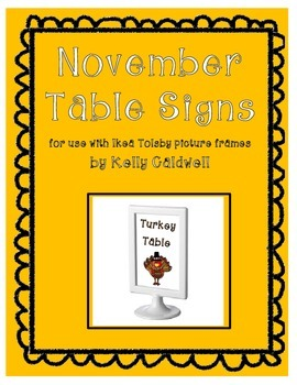 November Table Signs (for use with IKEA Tolsby frames)