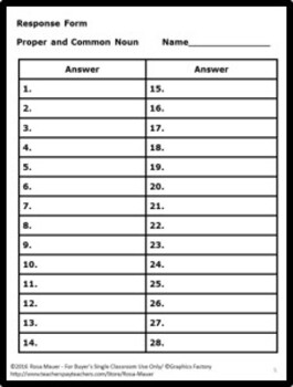 November Task Cards and Worksheet Proper and Common Nouns Review