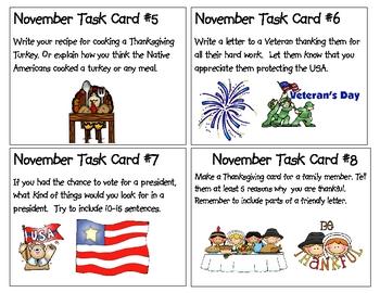 November Task Cards- in order