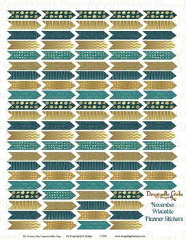 November Teal and Gold 110 Arrows Printable Planner Stickers