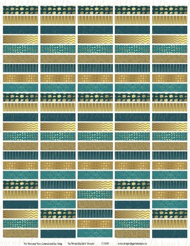 November Teal and Gold 120 Headers Printable Planner Stickers