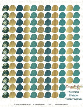 November Teal and Gold 139 Small Teardrops Printable Planner Stickers