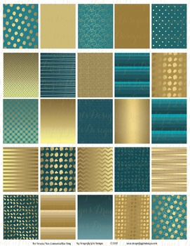 November Teal and Gold 25 Squares Large Boxes Printable Pl