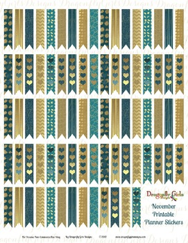 November Teal and Gold 80 Long Flags Printable Planner Stickers