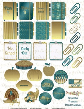 November Teal and Gold School and Holiday Printable Planner Stickers