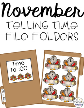 November Telling Time File Folders for Special Education