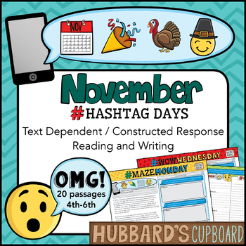 November Text Dependent (4th- 7th) / Constructed Response Reading & Writing
