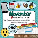 20 November Reading Passages - Google Classroom /Text Evidence/ Emojis / hashtag