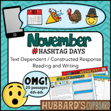 20 November Text Dependent Reading Passages & Writing Prompts - Google Classroom