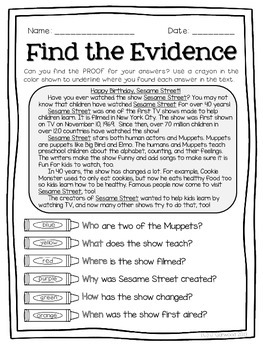 November Text Detectives Jr.- Text Evidence for 2nd Grade