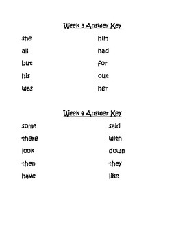 Sight Word Missing Letter Literacy Center Week 3 & 4