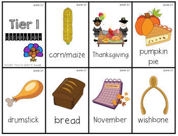 November Monthly Themed Therapy: Thanks for Speech and Language