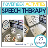 November Monthly Themed Therapy Thanks for Speech & Language
