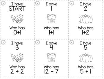"November Thanksgiving 1st Grade ""I Have, Who Has"" Math Game Bundle"